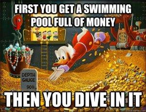 mcduck swimming in money